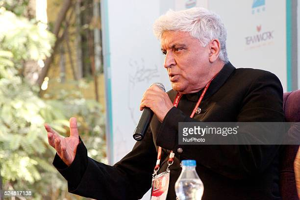 Indian Lyricist Javed Akhtar during the session at the 9th Edition of Jaipur Literature Festival at Diggi Palace in Jaipur 24 Jan2016