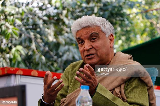 Indian Lyricist Javed Akhtar during the session at the 9th Edition of Jaipur Literature Festival at Diggi Palace in Jaipur 23 Jan2016