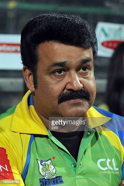 Indian Malayalam film actor Mohanlal attends the Celebrity Cricket League 2013 Finals between Karnataka Bulldozers and Telugu Warriors at the...