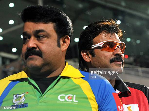 Indian Malayalam filmactor Mohanlal and Tollywood film actor Daggubati Venkatesh attend the Celebrity Cricket League 2013 Finals between Karnataka...