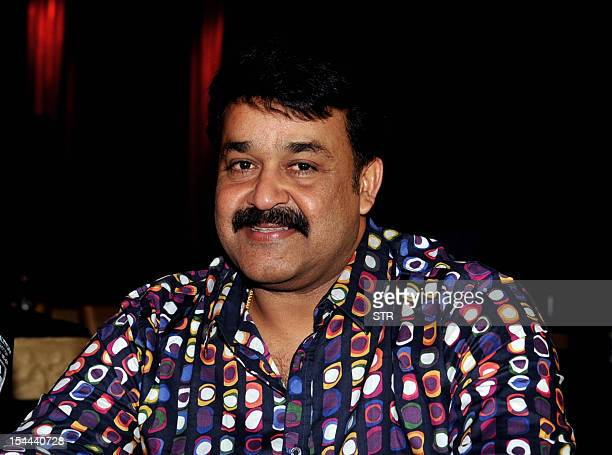Indian Malayalam superstar Mohanlal poses during the announcement of two new 'Celebrity Cricket League T20' teams for season three in Mumbai on...