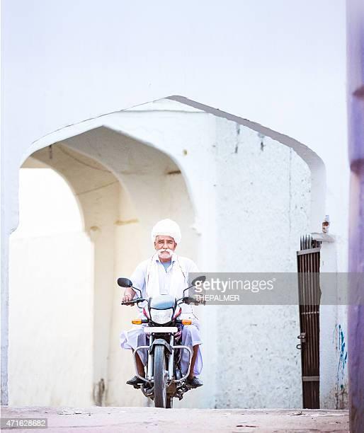 Indian man on motorcycle