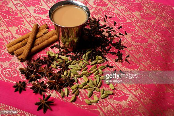 Indian masala tea with spices.