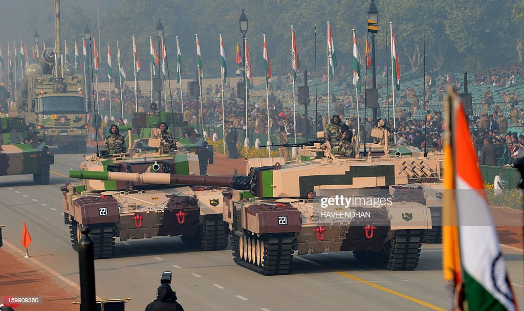 Indian MBT Arjun MK-1 tanks roll down Rajpath during the final full dress rehearsal for the Indian Republic Day parade in New Delhi on January 23, 2013. India will celebrate the 64th Republic Day on January 26 with a large military parade.