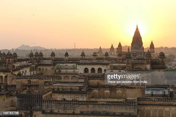 indian medieval historic forts  palaces at sunset