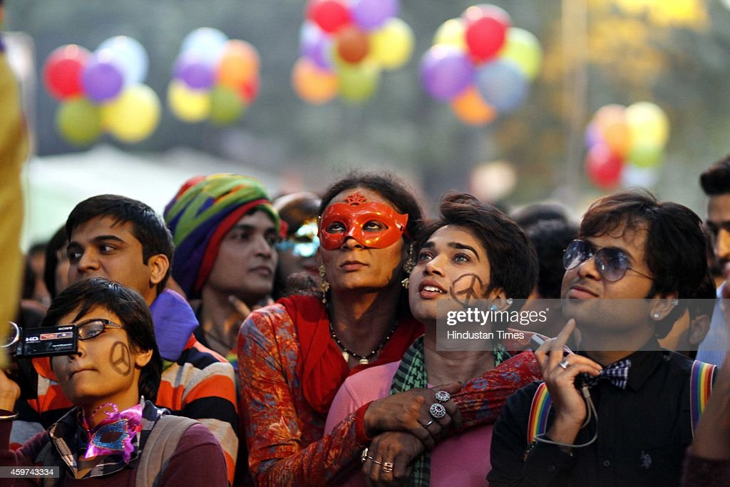 Indian members and supporters of the Lesbian Gay Bisexual and Transgender Community hold placards and dances during a Gay Pride Parade on November 30...