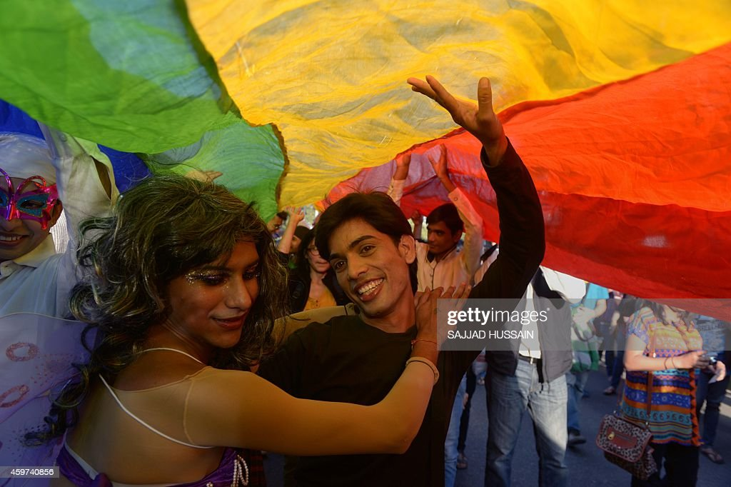 Indian members and supporters of the lesbian gay bisexual transgender community dance during a Gay Pride Parade in New Delhi on November 302014...
