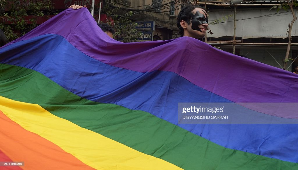 Indian members and supporters of the lesbian gay bisexual transgender community attend a Rainbow Pride Walk in Kolkata on December 13 2015 Marching...