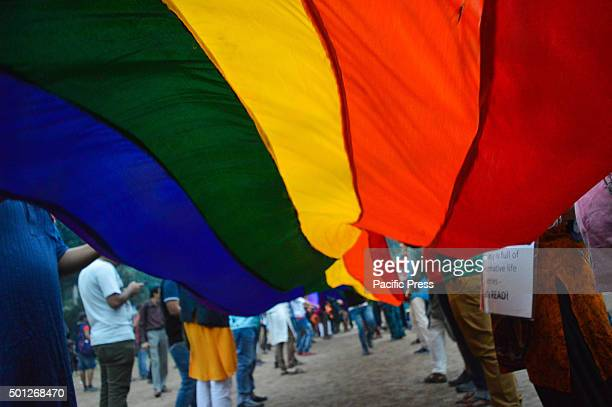 Indian members and supporters of the lesbian gay bisexual transgender community attend a Rainbow Pride Walk in Kolkata Marching in solidarity and in...