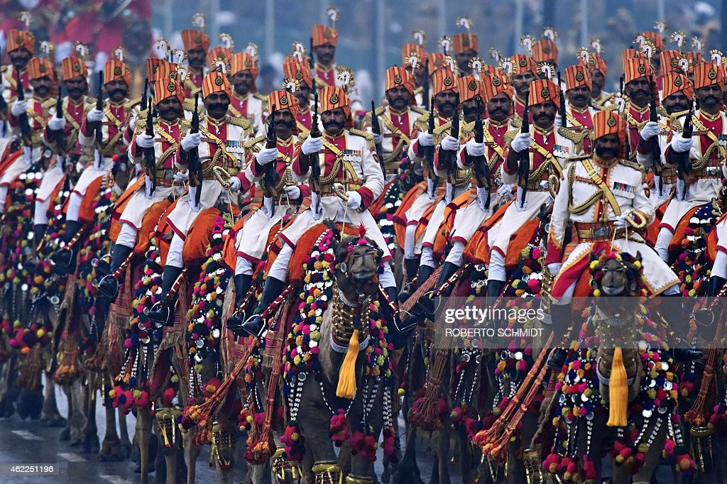 Indian members of the camel contingent of the Border Security Force of India parade with their camels during India's Republic Day parade in New Delhi...