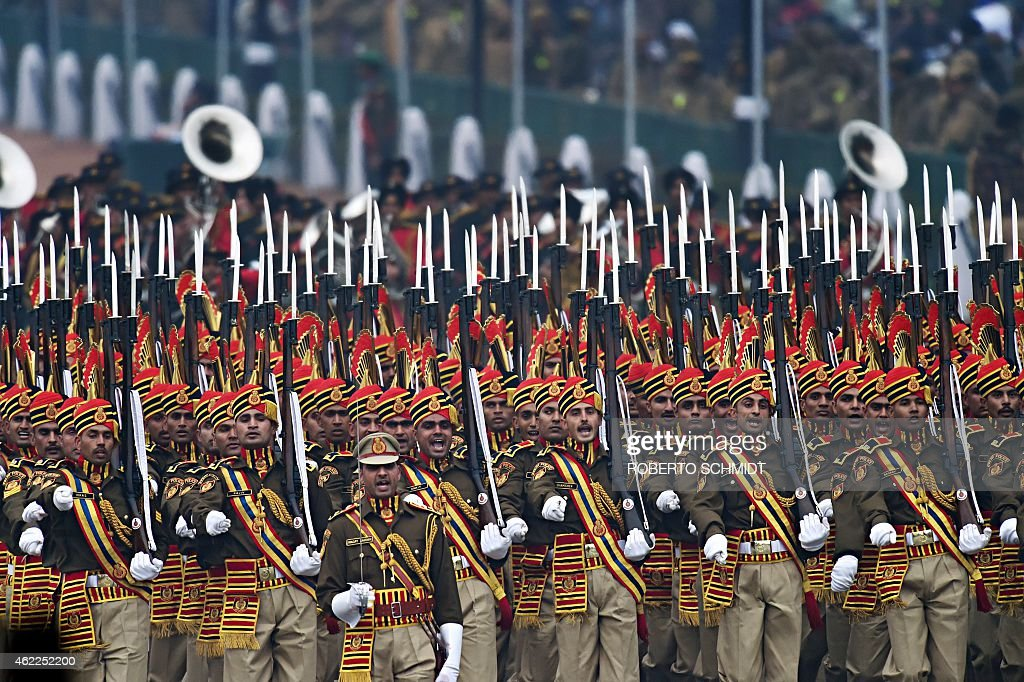 Indian members of the Delhi Police marching contingent march during the country's Republic Day parade in New Delhi on January 26 2015 Rain failed to...