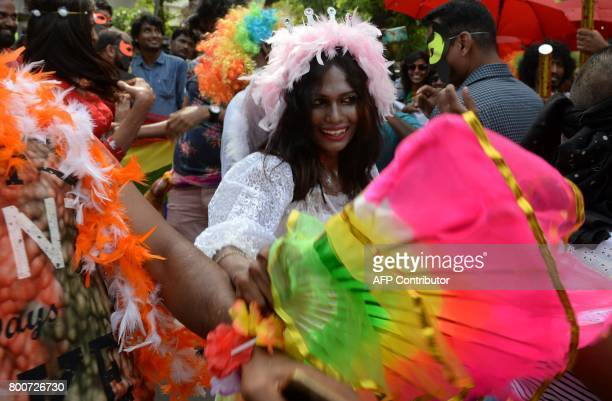 Indian members of the LGBT community take part in a pride parade calling for freedom from discrimination on the grounds of sexual orientation in...
