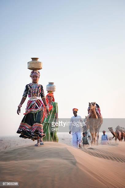 Indian Men and Women in Desert
