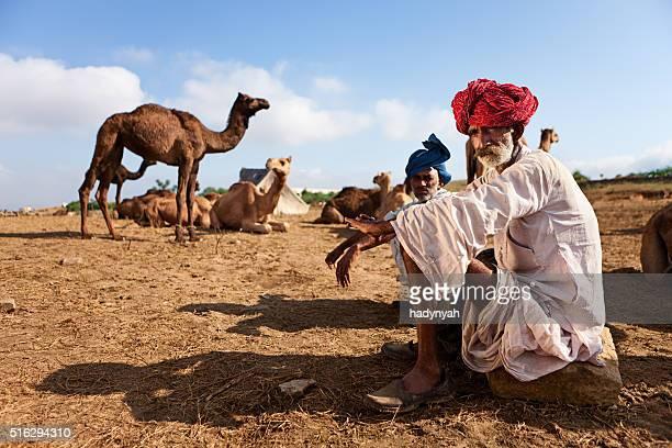 Indian men during Pushkar Camel Fair, India