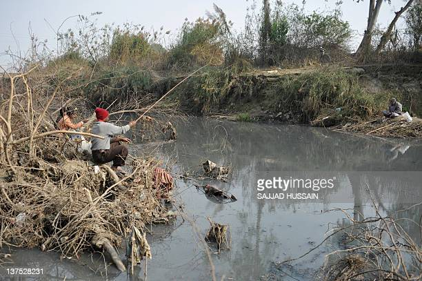 Indian men fish in polluted pond near the Yamuna river in New Delhi on January 22 2012 River Yamuna is one of the most polluted rivers of the country...
