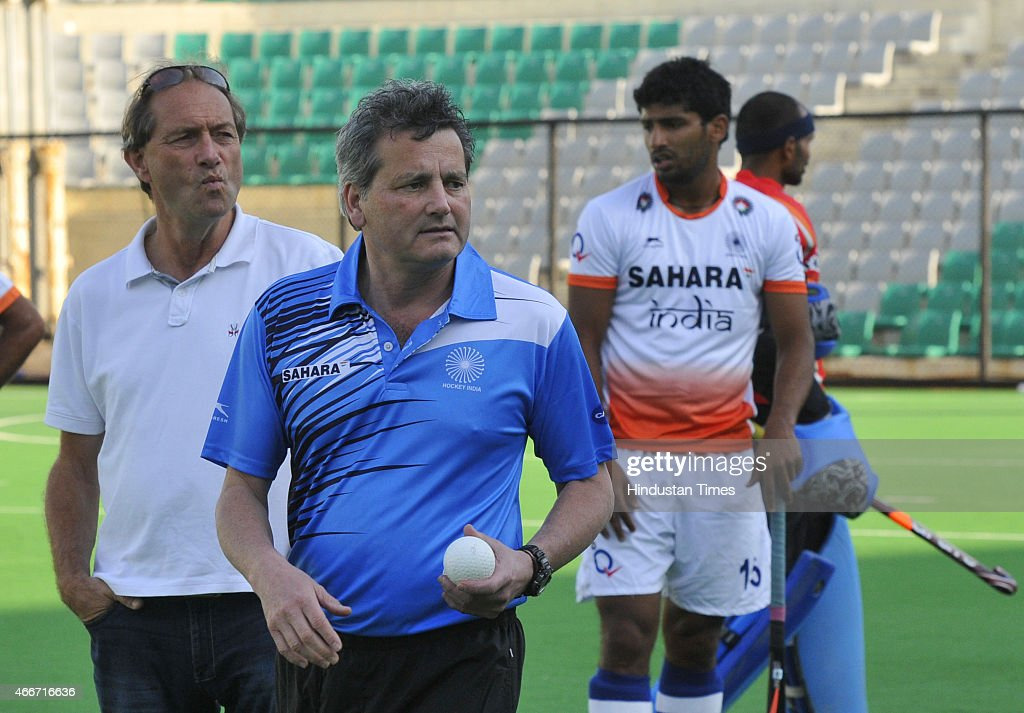 Indian men hockey new coach Paul van Ass and High Performance Director of Indian hockey team Roelant Oltmans seen during a preparatory camp for...