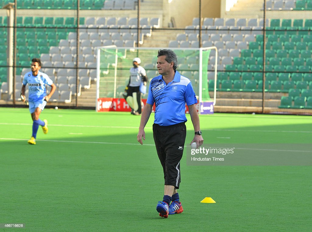 Indian men hockey new coach Paul van Ass seen during a preparatory camp for Sultan Azlan Shah Cup at the Major Dhyan Chand National Stadium on March...