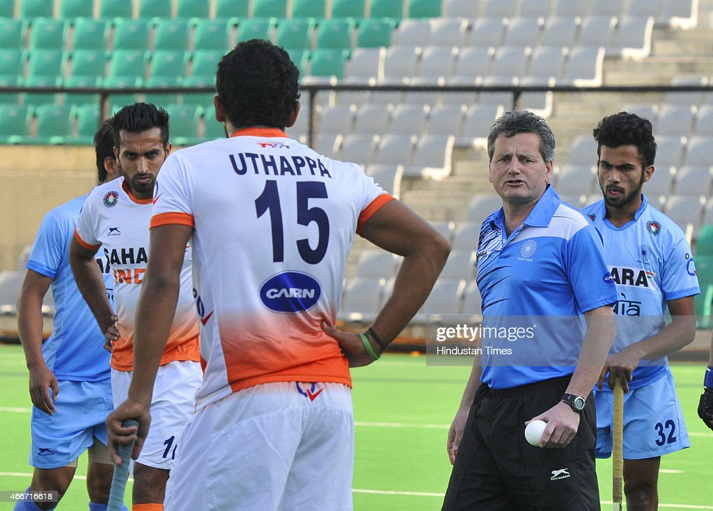 Indian men hockey new coach Paul van Ass with players seen during a preparatory camp for Sultan Azlan Shah Cup at the Major Dhyan Chand National...