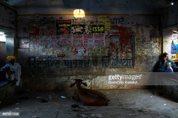 Indian men sit inside a waiting room at a local bus stand in Kekri some 78 kms south of Ajmer on May 14 in the northern state of Rajasthan / AFP...