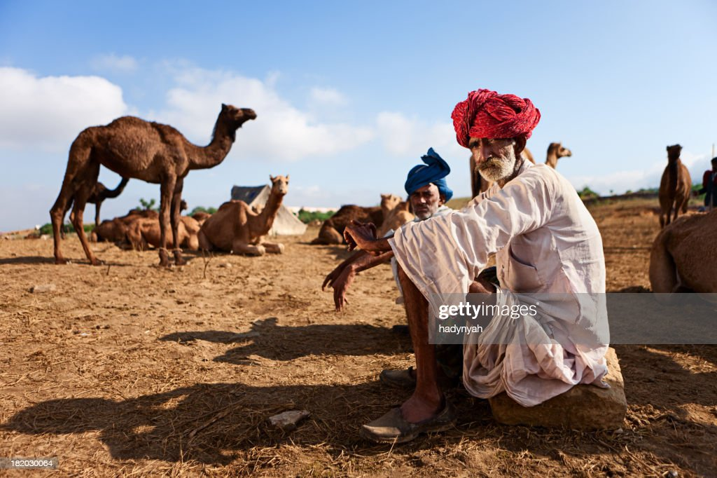 Indian men with camel during festival in Pushkar