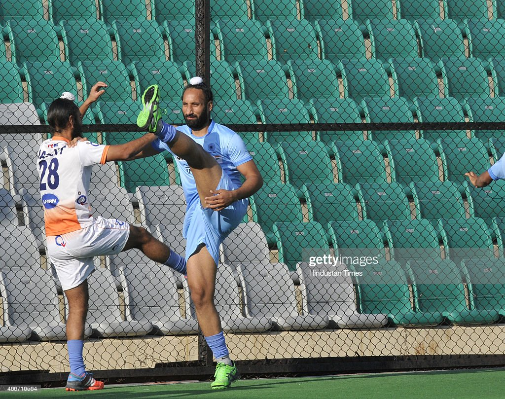 Indian Mens Field Hockey players Sardara Singh and Jasjit Singh Kullar doing exercise during a preparatory camp for Sultan Azlan Shah Cup at the...
