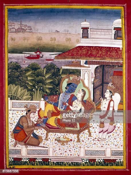 Indian miniature showing Krishna winged attendant and monkey god at his feet Krishna and avatar of Vishnu 18th century Museum of Decorative Arts Paris