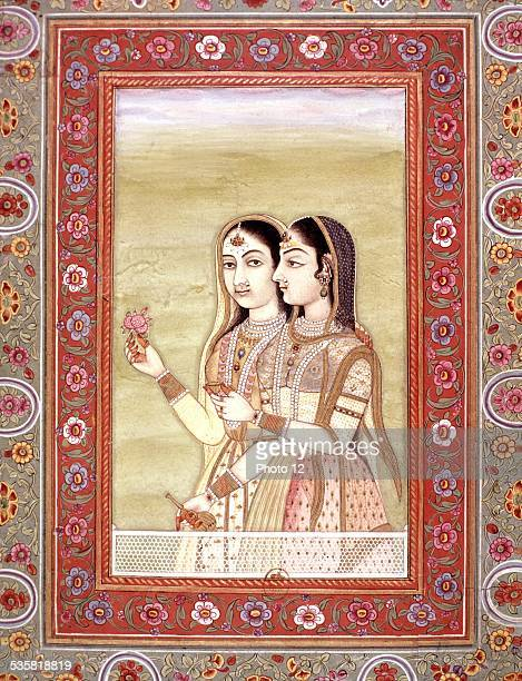 Indian miniature Two women 18th century India