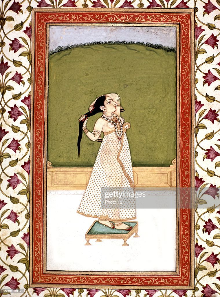 Indian miniature Woman combing her hair 18th century India