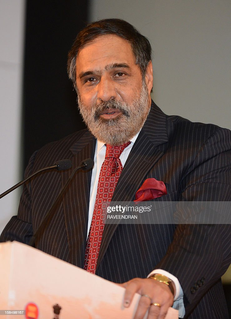 Indian Minister for Commerce and Industry Anand Sharma speaks during the inauguration of the 2nd India-ASEAN Business Fair and Business Conclave in New Delhi on December 18, 2012. Trade and commerce ministers from ten ASEAN countries are attending the two-day conference.