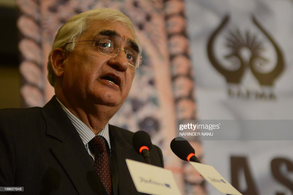Indian Minister for External Affairs Salman Khurshid addresses delegates during the inauguration ceremony of the 8th South Asia Free Media Association (SAFMA) International Conference 2013 in Amritsar on January 6, 2013. About 200 members delegates from eight SAARC countries participated in the conference in Amritsar.
