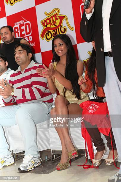Indian model and actress Poonam Pandey during 'Vote For Langot' Wrestling competition organized by Red FM Radio Channel to support Wrestling as Sport...