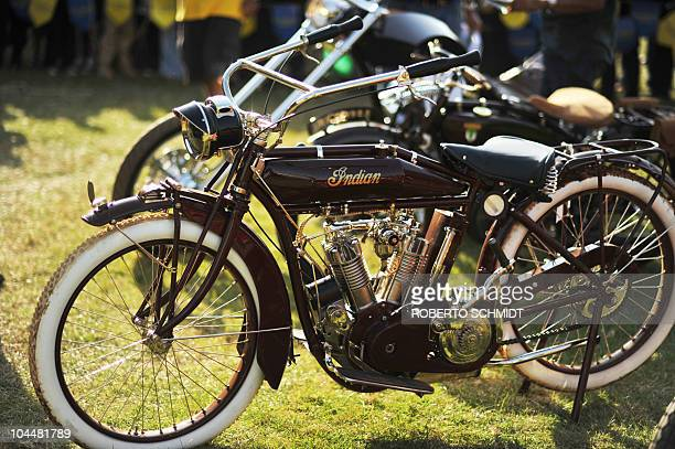 Indian Model B motorcycle is displayed during an antique car show in Nairobi on September 26 2010 AFP PHOTO/Roberto Schmidt
