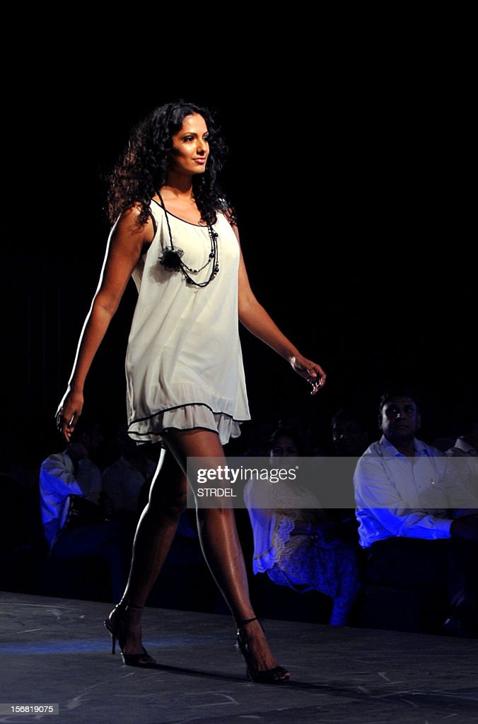 Indian model Sheetal Mallar walks the ramp during a Future Lifestyle Fashion event in Mumbai on November 21, 2012. AFP PHOTO/STR
