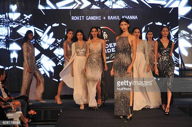 Indian Models Walk the ramp to the display creation of Fashion Designers Rohit Gandhi and Rahul Khanna at the Blenders Pride Fashion Tour 2016 on...