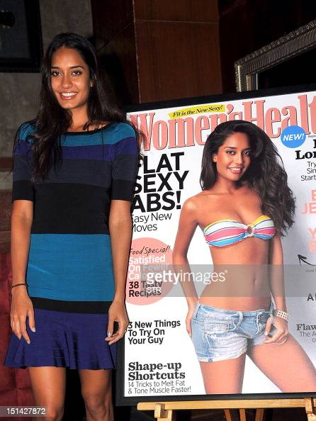 Indian modelturned Bollywood film actress Lisa Haydon poses during the unveiling of The India Today group magazine latest cover page of 'Women's...