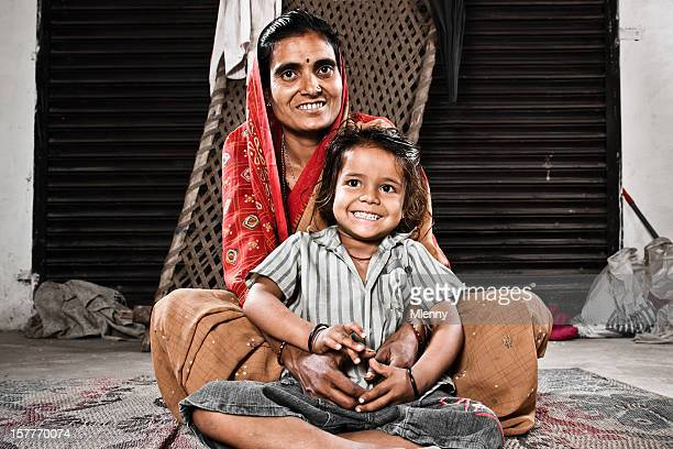 Indian Mother Together With Her Young Daughter