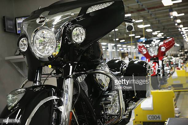 Indian motorcycles sit on the assembly line at the Polaris Industries factory on August 8 2014 in Spirit Lake Iowa Polaris Industries purchased the...