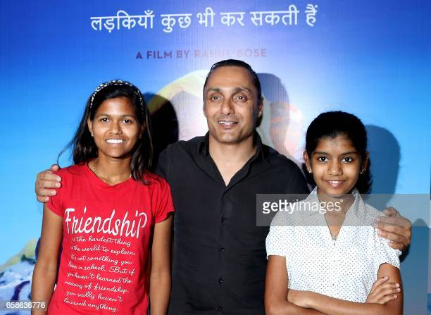 Indian mountaineer Poorna Malavath and actress Aditi Inamdar attend the screening of upcoming Hindi film Poorna directed by Rahul Bose in Mumbai on...