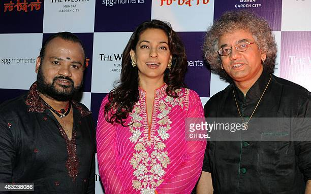 Indian music personalities V Selvaganesh actress Juhi Chawla and classical musician Taufiq Qureshi pose during a fusion music event in Mumbai on...