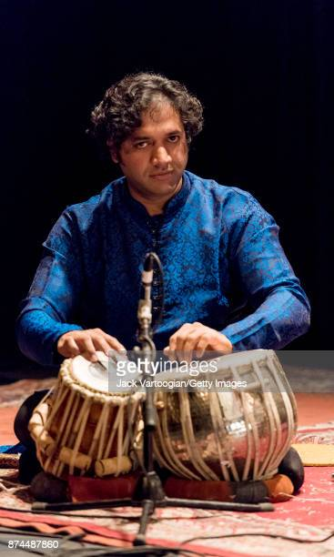 Indian musician Nitin Mitta plays tabla during a Robert Browning Associates 'Music of North India' concert at the Symphony Space Thalia Theater New...