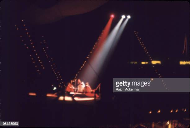 Indian musician Ravi Shankar center performs on stage at the Woodstock Music and Arts Fair Bethel New York August 15 1969 With him are fellow...