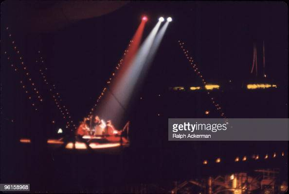 Indian musician Ravi Shankar performs on stage at the Woodstock Music and Arts Fair Bethel New York August 15 1969 With him are fellow musicians Alla...