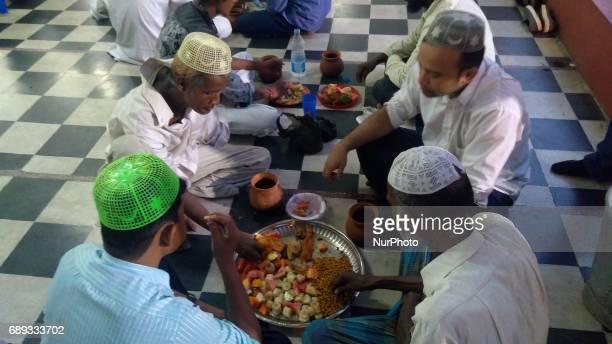 Indian Muslim at ifter at the first day of Ramadan at a city masque on May 282017 in KolkataIndia
