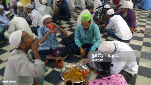 Indian Muslim at ifter at the first day of Ramadan Month at a city masque on May 282017 in KolkataIndia