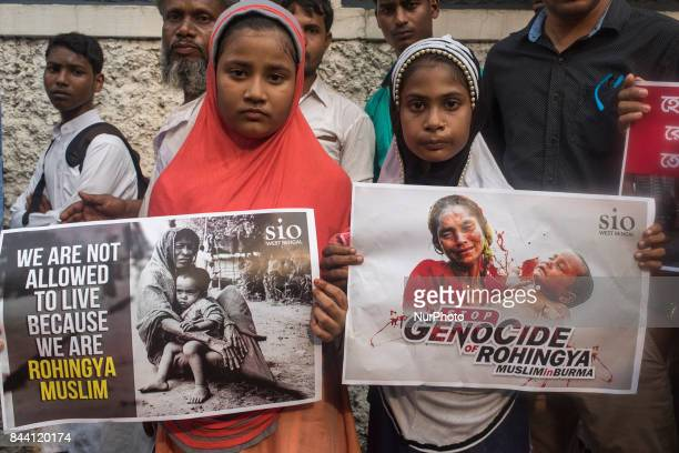 Indian Muslim children protesting against the Rohingya genocide of Myanmar in Kolkata India on September 2017 People of Kolkata has organized a...