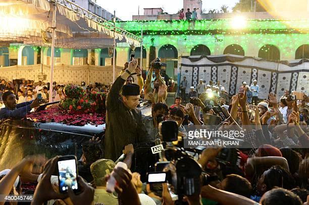 Indian Muslim leader of All India MajliseIttihad alMuslimin and member of the Legislative Assembly of the state of Telangana Akbaruddin Owaisi shouts...