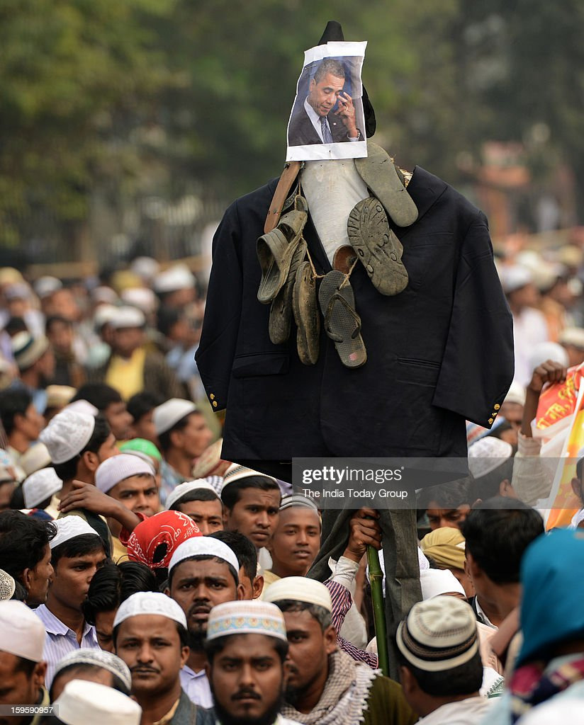 Indian Muslim Madrasah student activists during a protest against TMC government and United States of America in Kolkata on Wednesday.