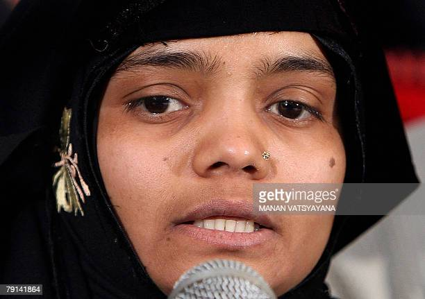 Indian Muslim woman Bilkis Yakub Rasool a housewife who was gangraped during the 2002 Gujarat riots addresses a media conference in New Delhi 21...