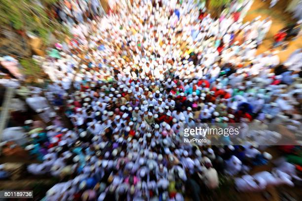 Indian Muslims leaves after offering Eid alFitr prayers at the Idgah Mosque in DelhJaipur HighwayRajasthan India Monday June 26 2017 Eid alFitr marks...