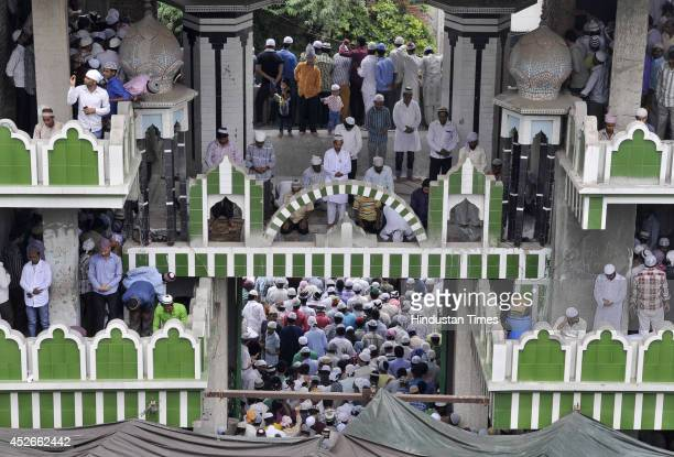 Indian Muslims offer JumatUlVida the last congregational Friday prayers in the holy month of Ramadan at mosque in Sector 8 on July 25 2014 in Noida...